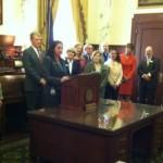 Rep. Ilana Rubel speaking at anti-bullying bill signing at state capitol, April 6, 2015